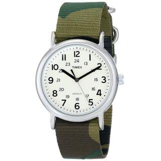 Timex T2p365 Unisex Weekend Indiglo Beige Zifferblatt Grün Tarnfarbe Armbanduhr Bild