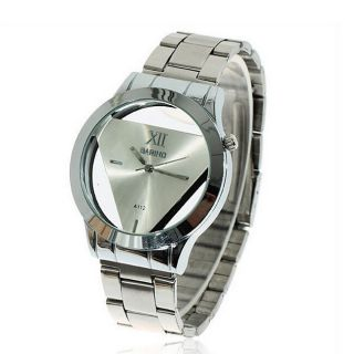 Unisex Transparent Triangle Dial Analog Uhren Edelstahl Armbanduhr Quarz Watch Bild