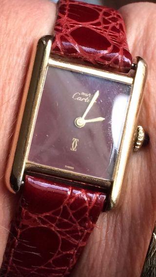 Cartier Argent Tank Handaufzug Uhr Funktionsfähig 925 Vergoldet Bild