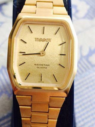 Tissot Seastar Quartz Retro Armbanduhr Vergoldet Um 1980 Schweiz Bild