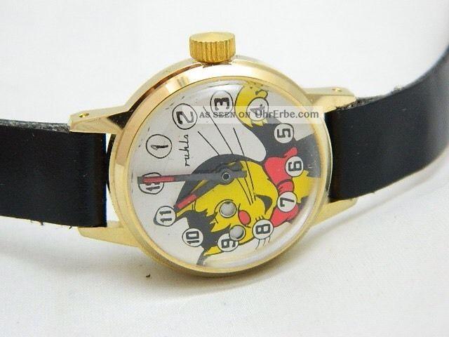 Ruhla Wackelaugenuhr Kater Handaufzug Neuwertig Armbanduhren Bild