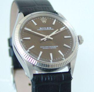 Rolex Oyster Perpetual Ref: 1005,  Vintage Uhr Aus Ca.  1972,  Braunes Zb,  Top Bild