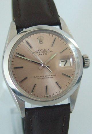 Rolex Oyster Perpetual Date,  Ref: 1500,  Lachsfarben,  Baujahr 1970/71,  Top Bild