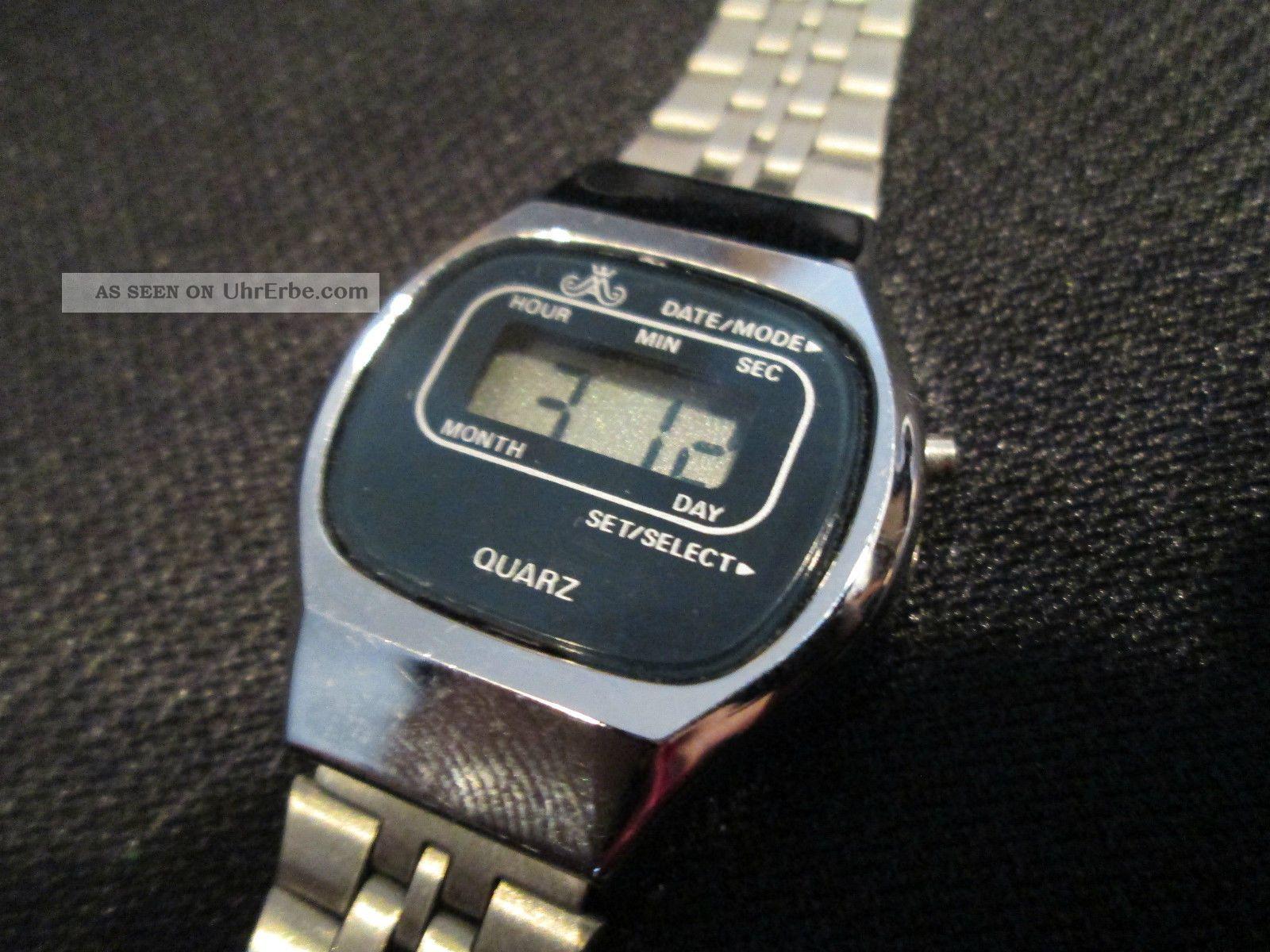 Meister Anker Quartz Lcd Digital Uhr Armbanduhr Vintage Armbanduhren Bild
