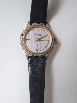 Regent Formatic Armbanduhr Schwarzes Lederarmband Wasserdicht Gestempelt Bild