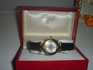 Cartier Montre Uhr Colisee Vermeil Silber/18k Gold Bild