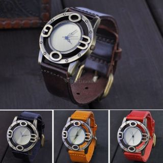 Design Armbanduhr Synthetische Lederband Punk Höhlte Uhr Bild
