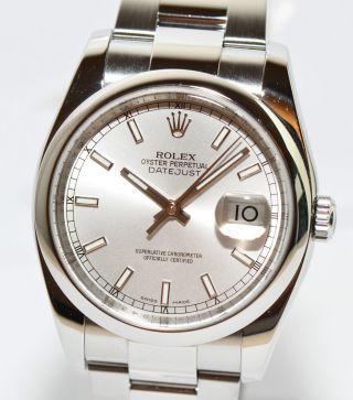 Rolex Datejust Stahl Uhr 2014 Ref.  116200 Papiere Box 36mm Wie Bild