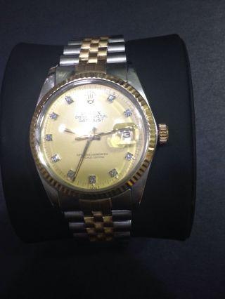 Rolex Datejust 16013 Stahl Gold Brillant - Zifferblatt Bild