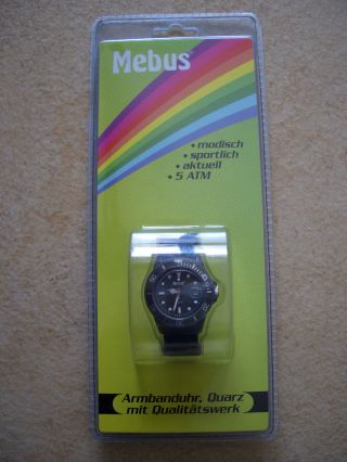 Tolle Sportliche Armband - Uhr Mebus Dunkelblau U.  Ovp,  Quarz,  Qualitätswerk Bild
