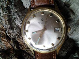 Junghans Armbanduhr,  Gold,  Automatic,  Mit Datum,  Lederband,  Eta - Werk,  Vintage Bild