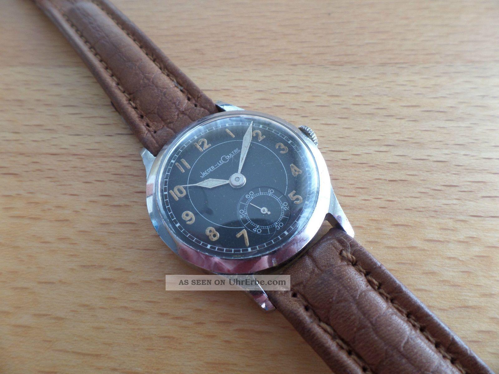 Jaeger Lecoultre Kriegsuhr 2.  Weltkrieg,  Ww2ii Stahl,  Schwarzes Blatt Armbanduhren Bild