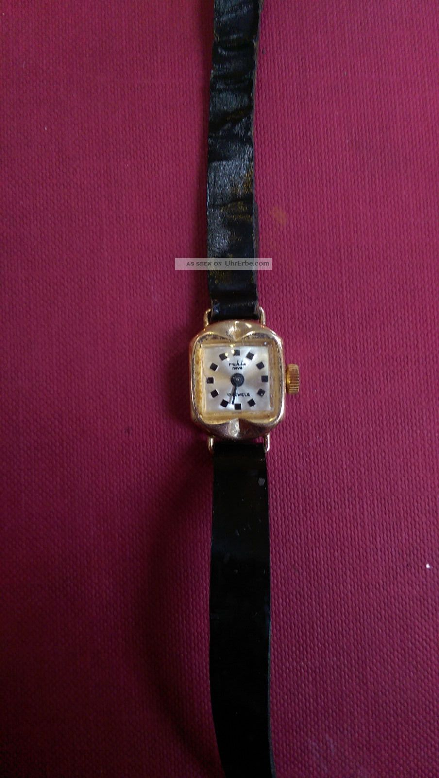 Ruhla Armbanduhr 17 Jewels Plaque 14 Karat Armbanduhren Bild