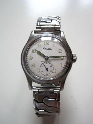 Minerva Edelstahl Handaufzug Armbanduhr Zifferblatt As 1002 Kaliber Bild