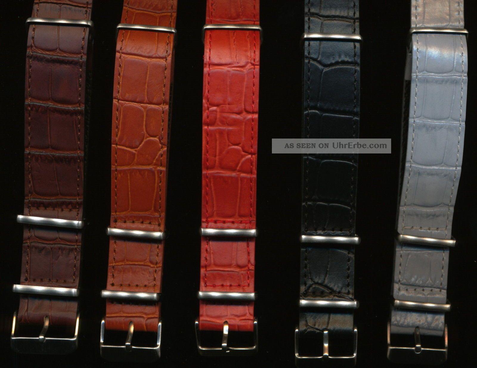 Maßgefertigt Nato Krokodilkorn Uhrenarmband Band Für Vintage Breitling Navitimer Armbanduhren Bild