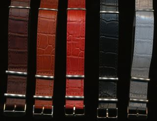 Maßgefertigt Nato Krokodilkorn Uhrenarmband Band Für Vintage Breitling Navitimer Bild