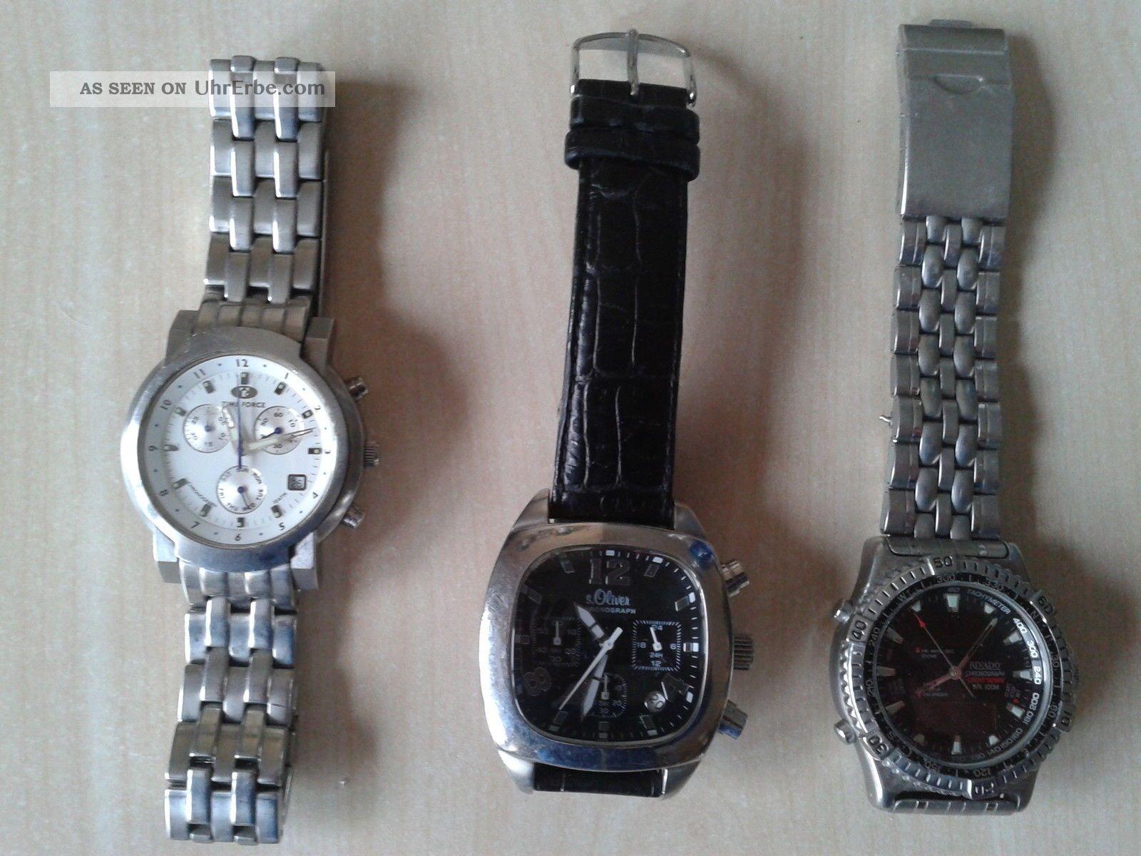 3x Uhr,  Chronograph,  S Oliver,  Rivado,  Timeforce,  Water Resistant Armbanduhren Bild