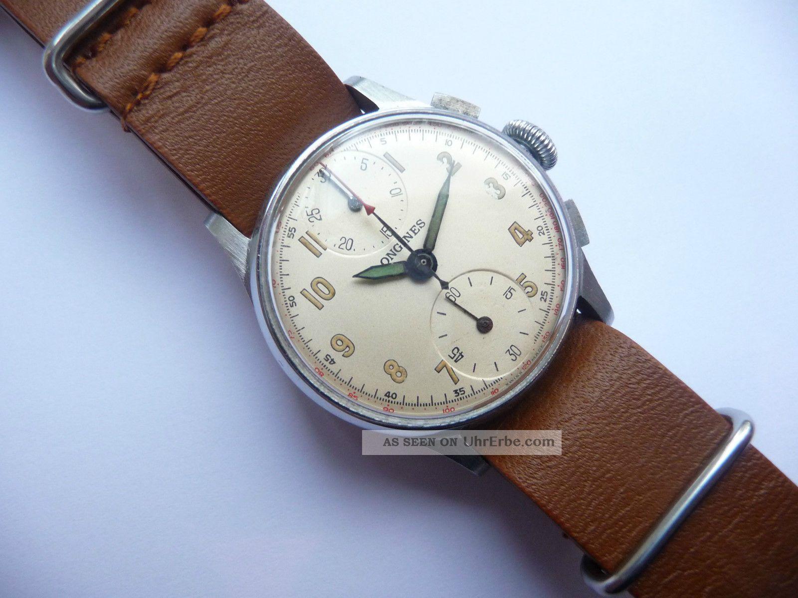Longines Chronographe Schakelrad Movement Extreme Rare Vintage Watch Armbanduhren Bild