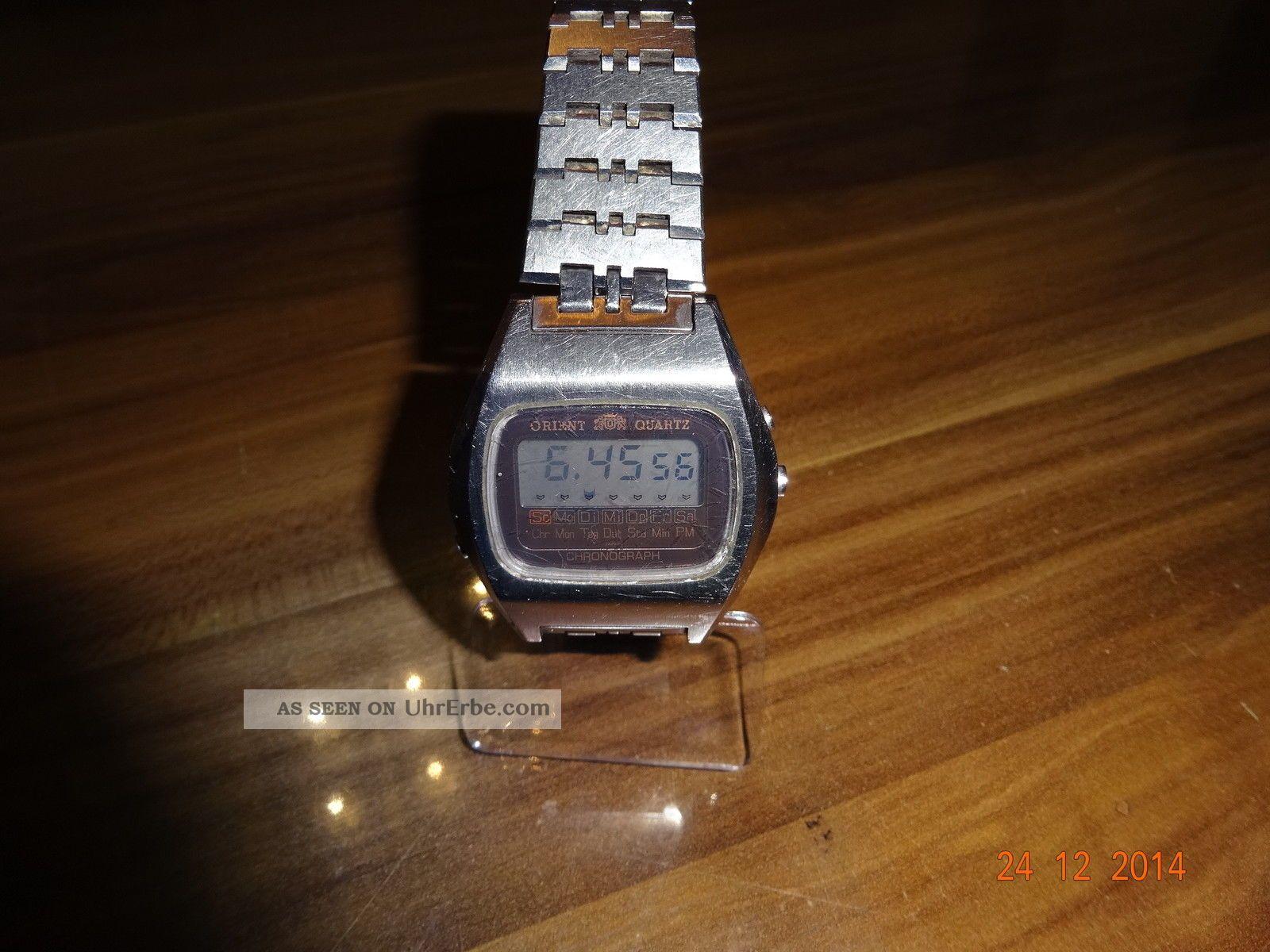 Alte Orient Quartz Lcd Uhr Chronograph Armbanduhren Bild