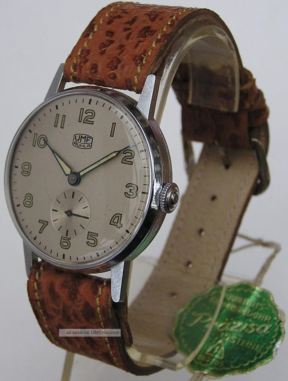 Frühe Top Umf Ruhla Qualitätsuhr 15 St.  1950/60 Mit Originalband Und Anhänger Armbanduhren Bild
