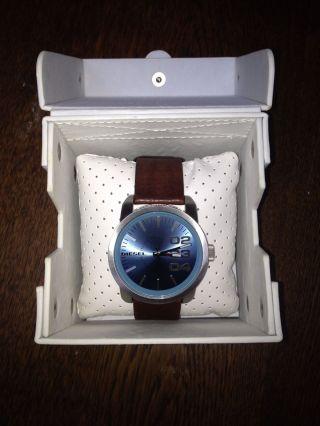 Diesel Armbanduhr Leder Braun Blau Silber Dz - 1512 Bild