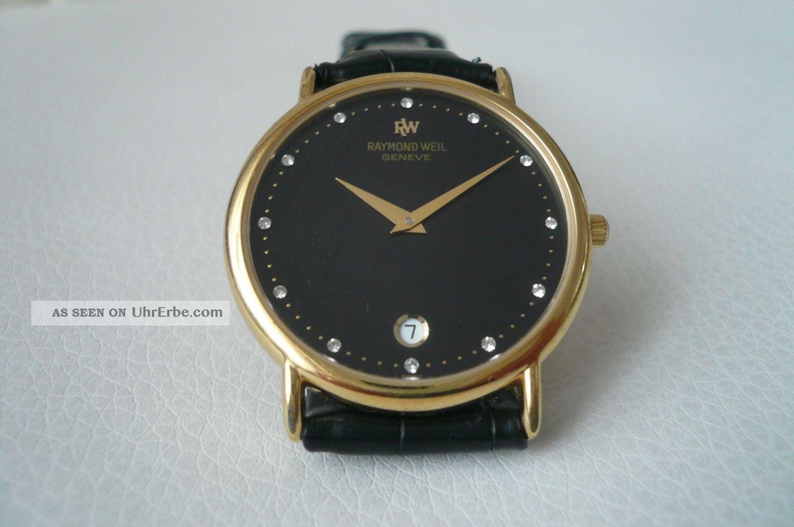 raymond weil geneve armband uhr mit datumsanzeige und steinen. Black Bedroom Furniture Sets. Home Design Ideas