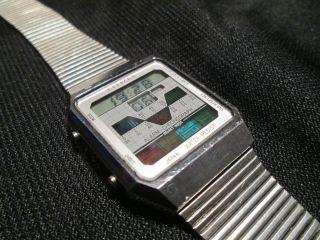Seltene Citizen Alarm Chronograph Dq 5012 Lcd Digital Uhr Armbanduhr Vintage Bild