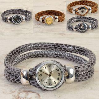 Click Uhr Lederarmband Armband Druckknöpfe Leder Snake Schlange Clicks Buttons Bild