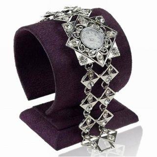 Damen Kristall Gem Square Blume Leaf Link Mode Armbanduhr Wide Armreif Uhren Bild