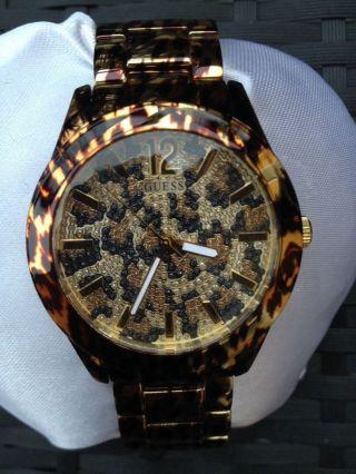 Guess Damen - Leoparden Uhr Mit Gold Und Strass City Safari Bild