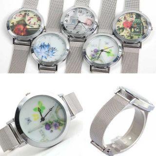 Fashion Frauen Dame Runden Zifferblatt Edelstahlgewebe Quarz - Armbanduhr Quar Bild