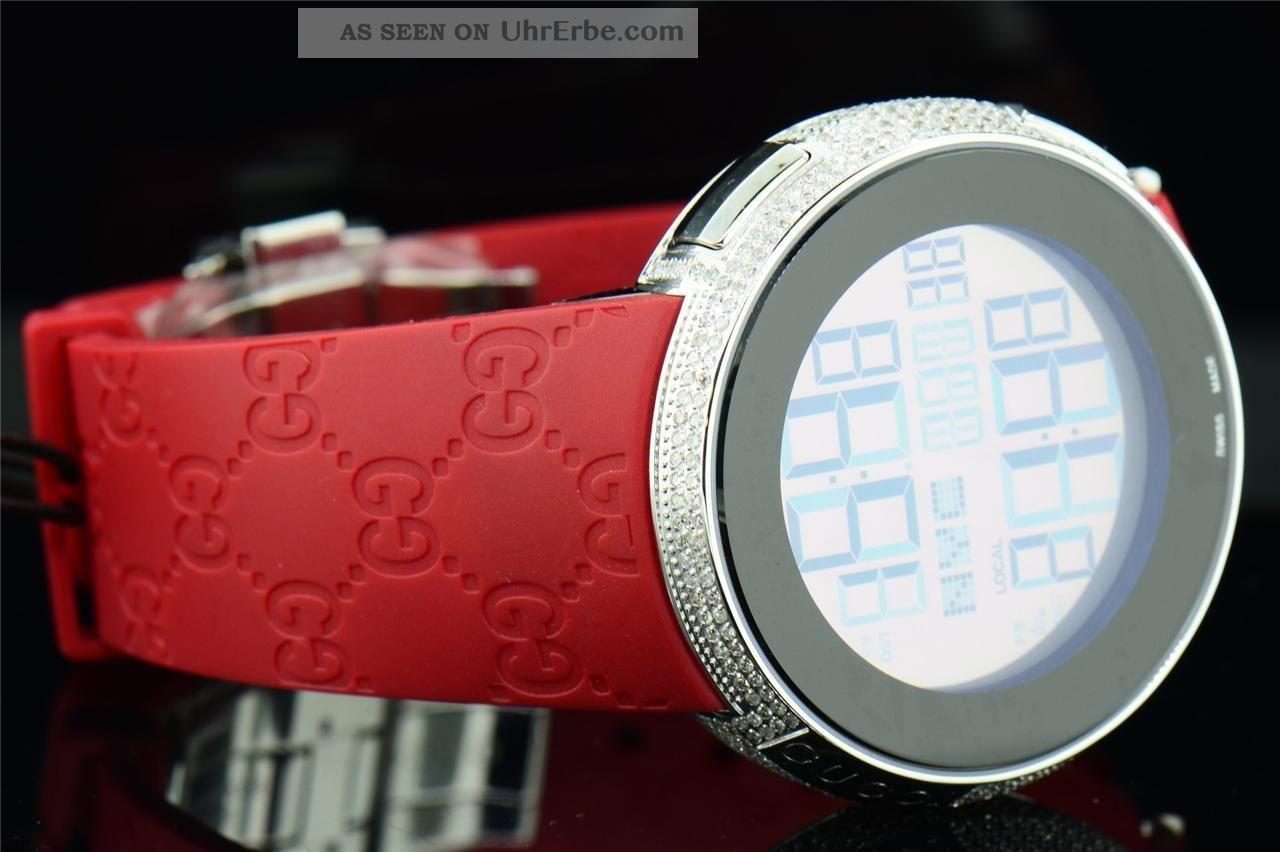 gucci herren uhr custom full case digital rot ya114212 diamantuhr 4kt. Black Bedroom Furniture Sets. Home Design Ideas