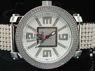 Männer Eis Manie /jojino Joe Rodeo Diamant Uhr - 6 Reihe Brauch Weißband Bild