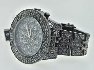 Armbanduhr Herren Joe Rodeo 3 Reihen Maßgefertigt Schwarz Diamant 23 Karat Bild
