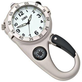 Jobo Herren Quarz Gürteluhr Karabiner Kompass Silber Bild