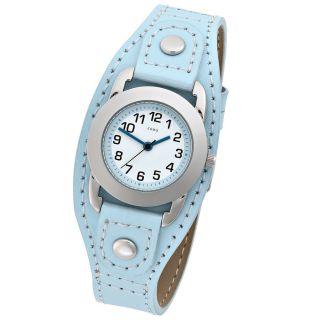 Jobo Kinder Kinder Armbanduhr Hellblaues Lederband Bild