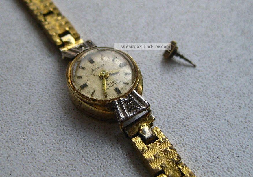 Anker Damenuhr 585 Gold 14 Karat 17 Rubis - Goldplated Armbanduhren Bild
