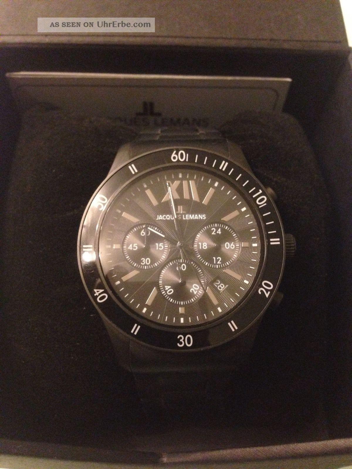 Jacques Lemans Herren Armbanduhr Schwarz Sportive Chronograph Armbanduhren Bild