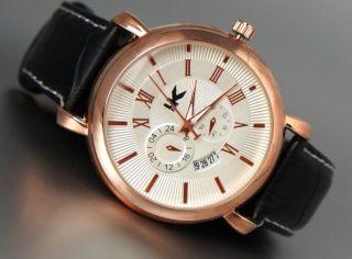 Xxl Herrenuhr Edel Elegant Rose Gold Datumsanzeige Schwarze Leder Armband Box Bild