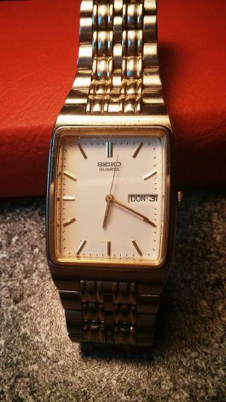 Wunderschöne Seiko Herren Armband Uhr,  Gold Weiß. Bild