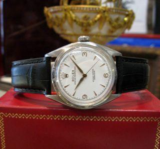 Rolex Herren Armbanduhr Semi - Runder Rücken Weißes Ziffernblatt Uhr Vintage Bild