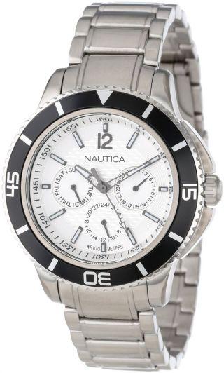 Herren Armbanduhr Nautica N19593g Ncs 450 Silber Ziffernblatt Edelstahl Multi Bild