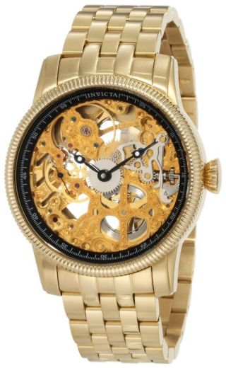 Invicta 10240 Specialty Gold Skeleton Uhr Dial Gold Ion Plated Mechanical Watch Bild