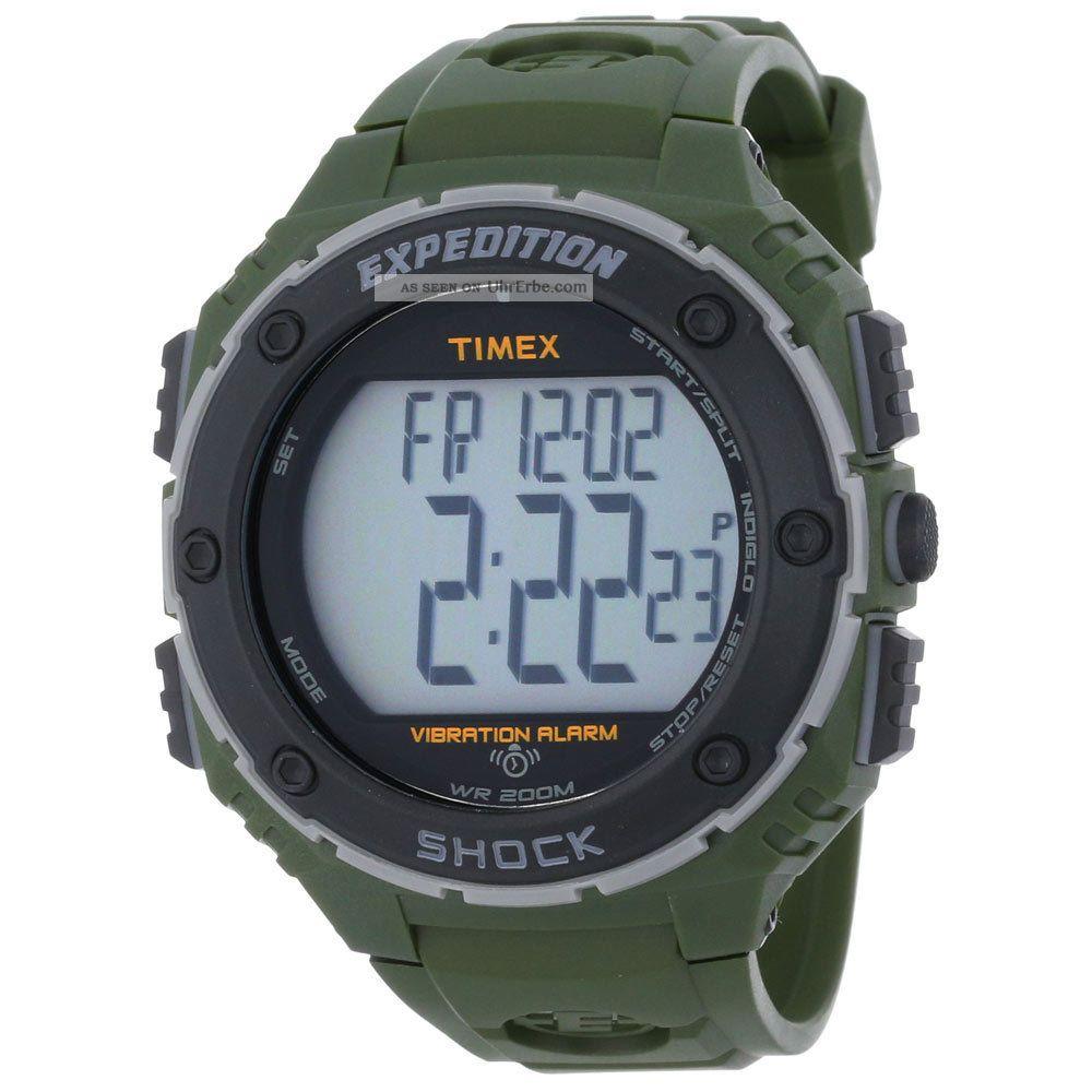 Timex Herren Uhr T49951 Expedition Alarm Digi Graues Ziffernblatt Grünharz Band Armbanduhren Bild
