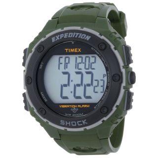Timex Herren Uhr T49951 Expedition Alarm Digi Graues Ziffernblatt Grünharz Band Bild
