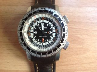 Pilotenuhr,  Fliegeruhr,  Fortis B - 47 Calculator Gmt 3 Time Zones Bild