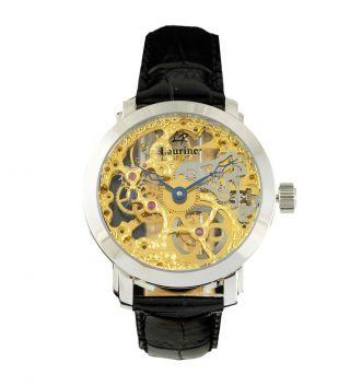 Laurine Kairo Silber Herren Skelett Armbanduhr Mech.  Handaufzug Lederarmband Bild