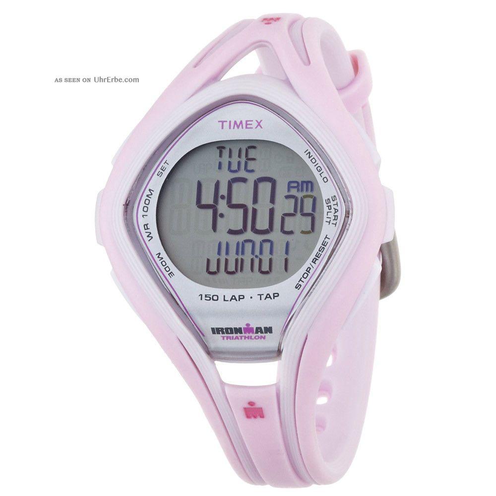 Timex Ironman T5k506 Frauen Tap Triathlon Sleek 150 - Lap Indiglo Rosa Rubber Str. Armbanduhren Bild
