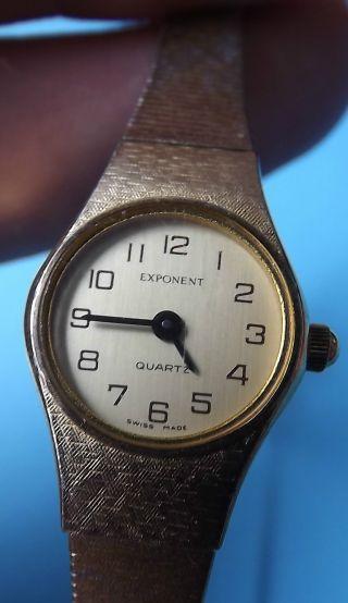 Exponent Damenuhr 70er Jahre Swiss Made Armbanduhr Mit Kettchen Goldfarben Bild