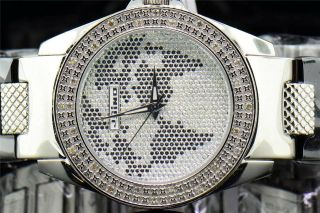 Herren - Weiß - Ton Jojino Joe Rodeo 0.  25 Ct.  Diamant - Uhr Weltkarte,  Ij1045 Bild